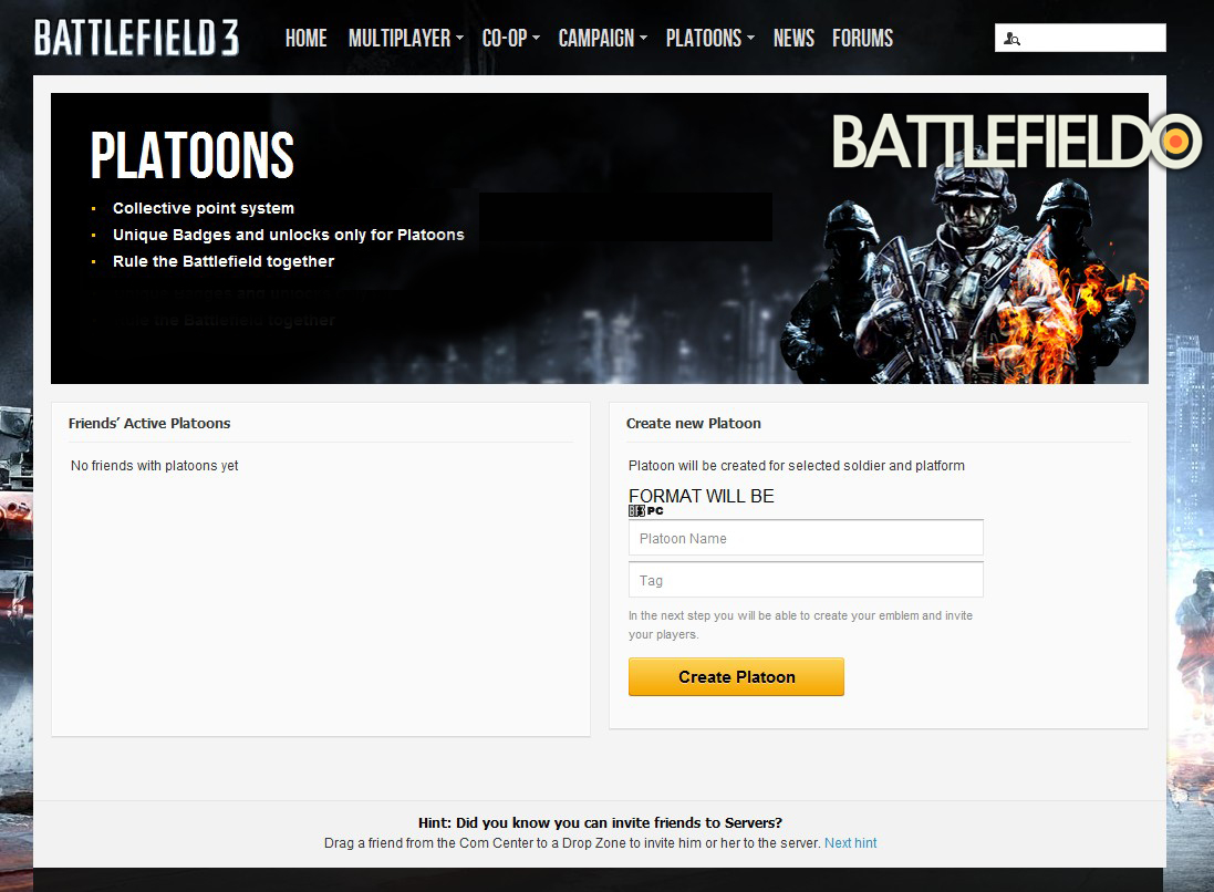 Battlelog Platoon Screenshot