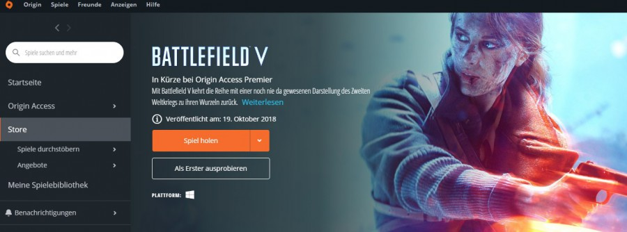 Battlefield V: Open Beta in Bibliothek aufnehmen
